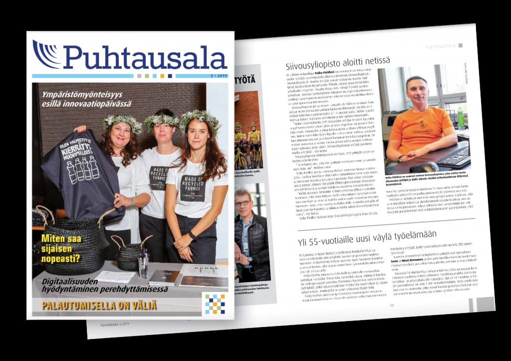 Puhtausalan lehti 5/2019 kansi ja aukema, jossa on juttu Siivousyliopistosta.