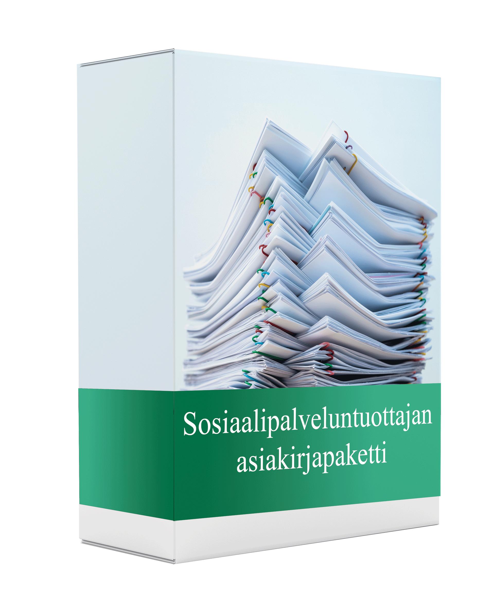 Asiakirjapaketti, jossa asiakirjoja alvittomalle sosiaalipalveluntuottajalle.