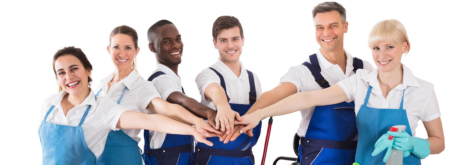 Palvelusopimus turvaa myös työntekijöitä. Ryhmä iloisia siivousammattilaisia.